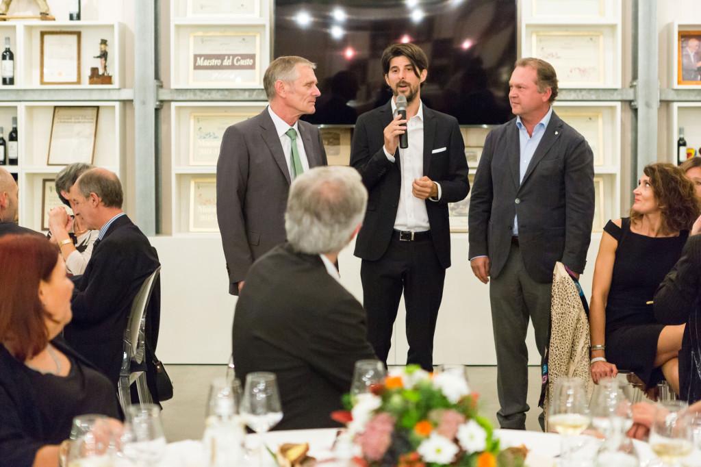 Luca Balbiano con Franz Sattleker (Direttore Castello di Schönbrunn) e Fritz Wieninger (Presidente Wien Wein)
