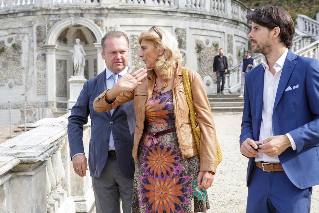Fritz Wieninger (Presidente Wien Wein), Monica La Cava (Presidente Associazione Amici di Villa della Regina) e Luca Balbiano (Azienda Vitivinicola Balbiano)